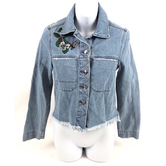 H&M Jackets & Blazers - Coachella Denim Cropped Embroidery  Flowers Jacket